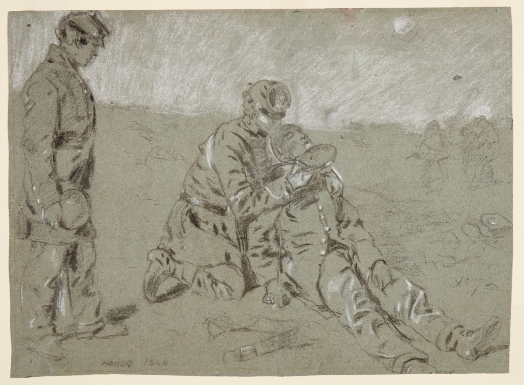 Winslow Homer drawing of a soldier giving water to a wounded man